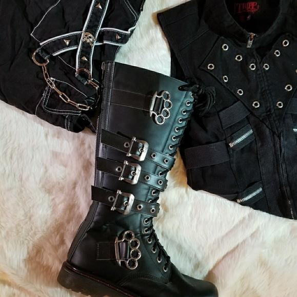 Demonia Defiant Black Combat Boots
